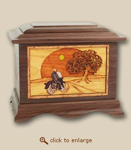 3D Inlay Heartland Motorcycle Wood Art Cremation Urn