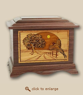 3D Inlay Heartland Pheasant Wood Art Cremation Urn