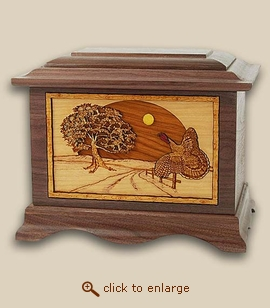 3D Inlay Turkey Wood Art Sport Cremation Urn