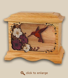 3D Inlay Hummingbird Oak Wood Art Cremation Urn