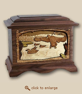 3D Inlay Duck Marshland Melody Wood Art Sport Cremation Urn