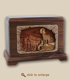 3D Inlay Moonlight Serenade Wood Art Cremation Urn
