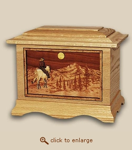3D Inlay Horse and Mountains Wood Art Cremation Urn