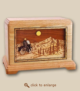 3d Inlay Motorcycle and Mountains Wood Art Cremation Urn