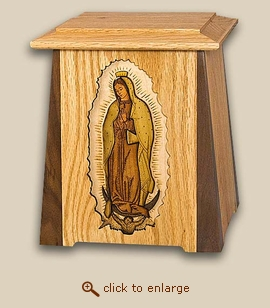 3D Inlay Our Lady Of Guadalupe Wood Cremation Urn