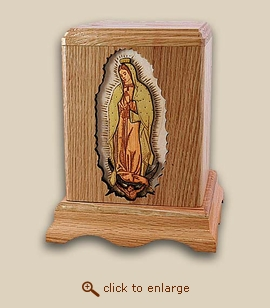 3D Inlay Our Lady Of Guadalupe Wood Religious Cremation Urn