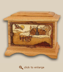 3D Inlay Cabin Rustic Paradise Wood Art Cremation Urn
