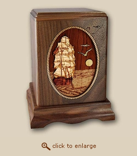 3D Inlay Sailing Home Wood Art Cremation Urn