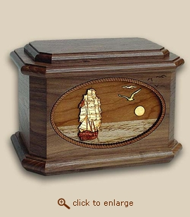 3D Inlay Sailing Home Wood Sport Cremation Urn