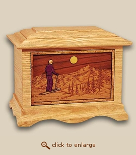 3D Inlay Skiing Wood Art Sport Cremation Urn