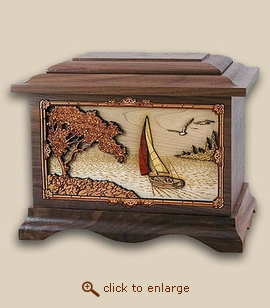 3D Inlay Sailing Soft Breezes Wood Art Cremation Urn