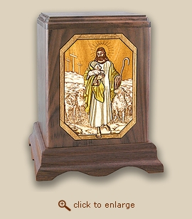 3D Inlay The Lord is My Shepherd Wood Art Cremation Urn