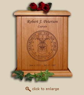 Air Force Military Wood Cremation Urn