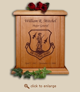 Air National Guard Military Wood Cremation Urn