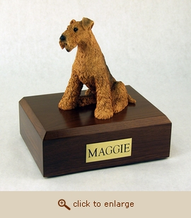 Airedale Terrier - Dog Figurine Wood Pet Urn