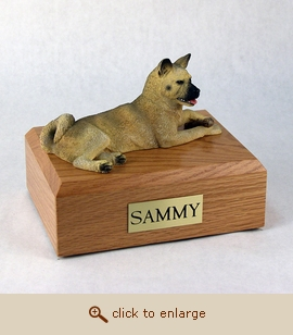 Akita, Fawn - Dog Figurine Wood Pet Urn