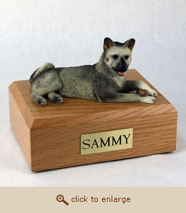 Akita, Gray - Dog Figurine Wood Pet Urn
