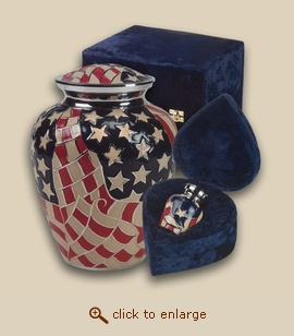 Americana Flag Cremation Urn - Large