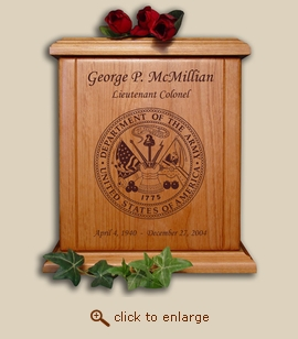Army Military Wood Cremation Urn