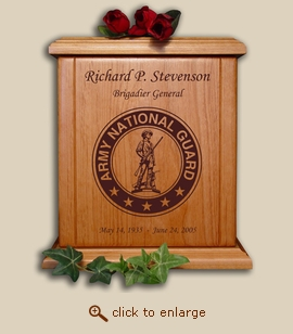 Army National Guard Military Wood Cremation Urn