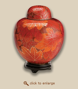 Autumn Leaf Cloisonne Cremation Urn - Large