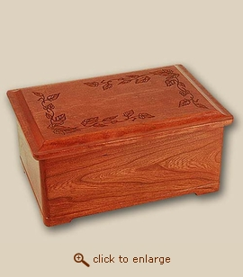 Autumn Leaves Style Wood Cremation Urn