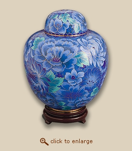 Azure Blue Cloisonne Art Cremation Urn - Small