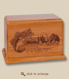 Bass Boat Fishing Deep Laser Wood Cremation Urn