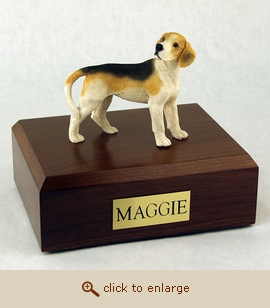 Beagle - Dog Figurine Wood Pet Urn