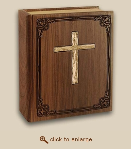 Bible Inlay Cross  Wood Cremation Urn - Companion