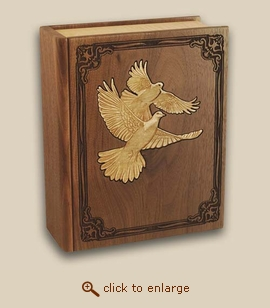 Bible Inlay Doves Wood Cremation Urn