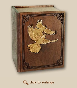 Bible Inlay Doves Wood Cremation Urn - Companion