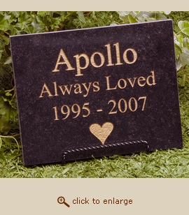 Black Granite Pet Memorial Marker - Small