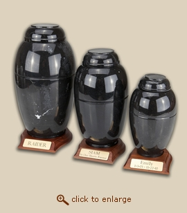 Black Marble Vase Pet Urns