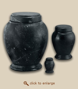 Black Stone Vase Marble Pet Urn - Large