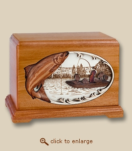 Boat Fishing Salmon 3D Inlay Mahogany Wood Cremation Urn