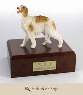 Borzoi - Dog Figurine Wood Pet Urn