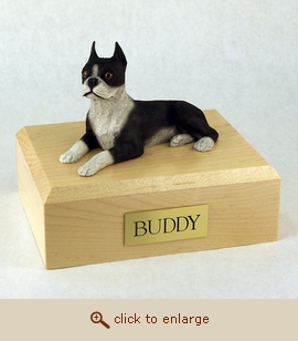 Boston Terrier - Dog Figurine Wood Pet Urn