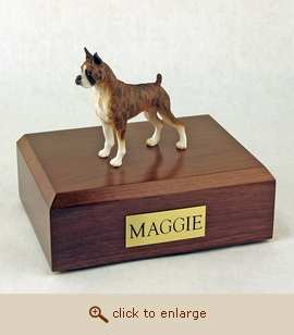 Boxer, Brindle - Dog Figurine Wood Pet Urn