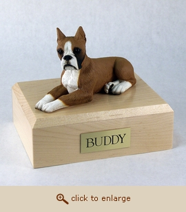 Boxer, Fawn - Dog Figurine Wood Pet Urn