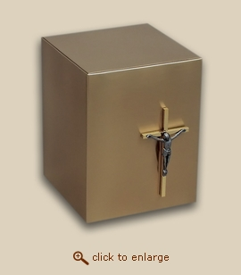 Bronze Cube Cremation Urn with Crucifix