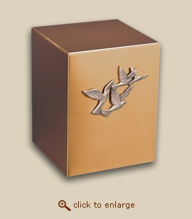 Bronze Cube Cremation Urn with Doves