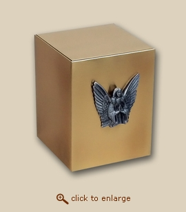 Bronze Cube Cremation Urn with Guardian Angel