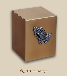 Bronze Cube Cremation Urn with Praying Hands