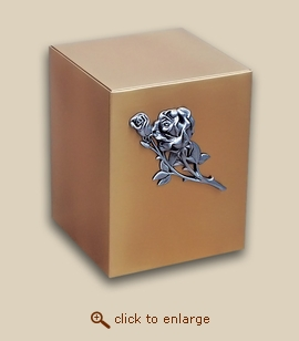 Bronze Cube Cremation Urn with Rose
