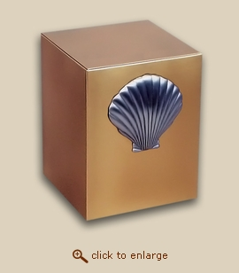 Bronze Cube Cremation Urn with Sea Shell