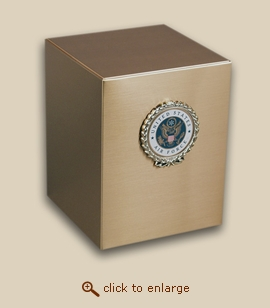 Bronze Cube Military Cremation Urn with Air Force Wreath