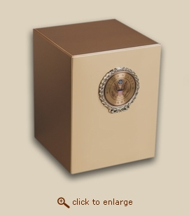 Bronze Cube Military Cremation Urn with Army Wreath