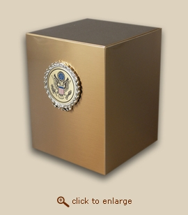 Bronze Cube Military Cremation Urn with Great Seal Wreath