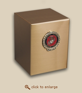 Bronze Cube Military Cremation Urn with Marine Corp Wreath